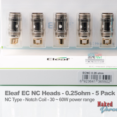 Eleaf EC NC Heads - 0.25ohm - Notch Coil - 5 Pack