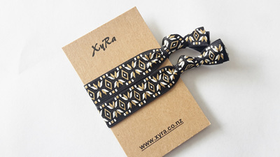 Elegant Black Hair Ties (pack of 2 ties)