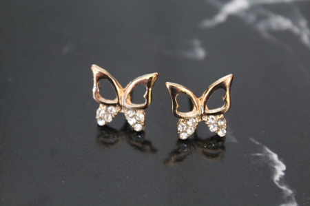 Elegant Gold Plated Butterfly Stud Earrings