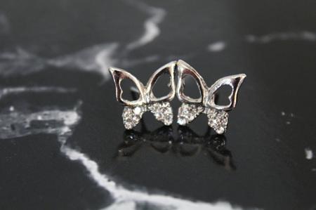 Elegant Silver Plated Butterfly Stud Earrings