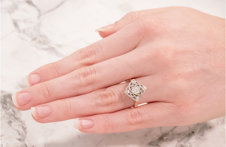 Elements Diamond Cluster Ring On Hand
