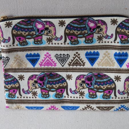 Elephant Pink & Blue Pencil Case - Medium