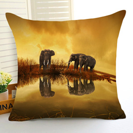 Elephants at the Watering Hole Cushion Cover