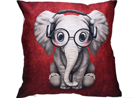 Elephants with Headphones Cushion Cover