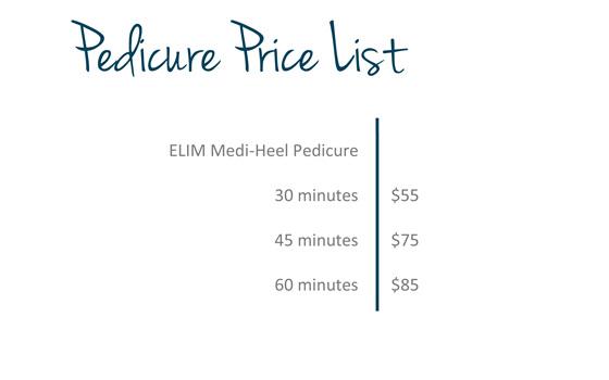 ELIM Medi-Heel Pedicure price list