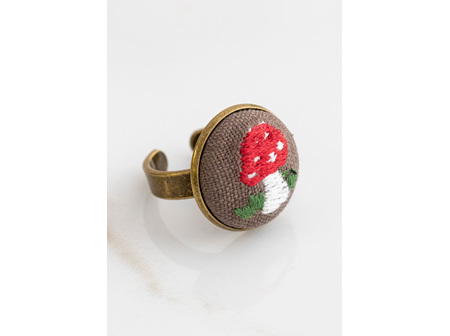Embroidered Copper Ring-Mushroom