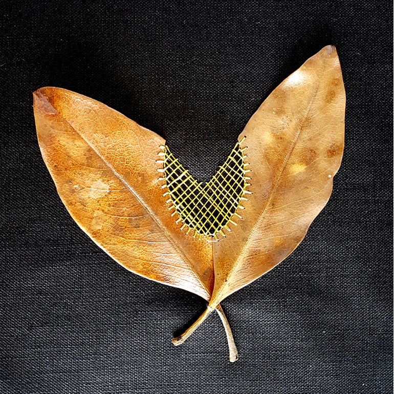 embroidery art leaves