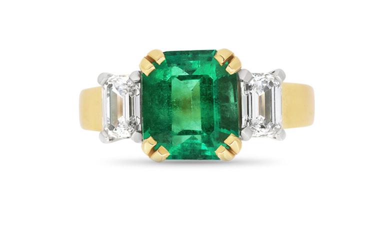 emerald and diamond dress ring