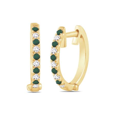 Emerald and Diamond Set Yellow Gold Huggie Earrings