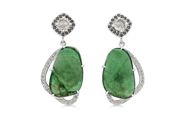 Emerald Crystal and Black Diamond Earrings