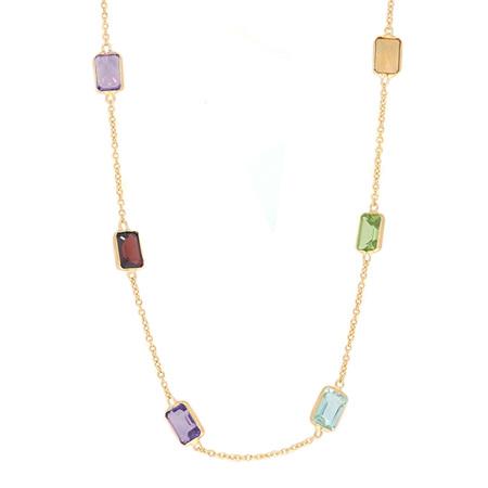 Emerald Cut Coloured Gemstone Necklace