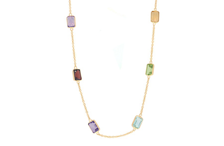 Emerald Cut Coloured Gemstone Necklace