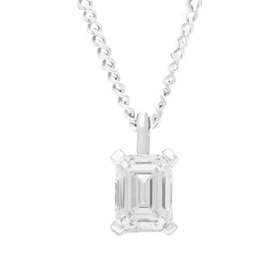Emerald Cut Diamond Solitaire Pendant