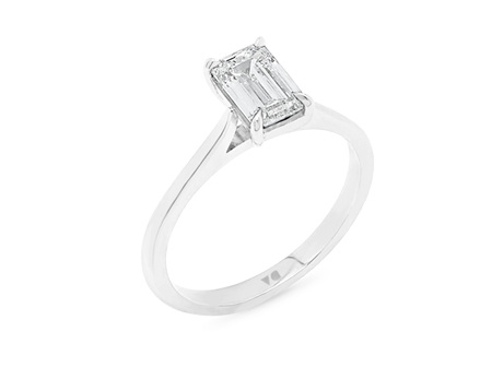Emerald Cut Diamond Solitaire with Delicate Band