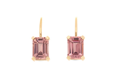 Emerald Cut Pink Tourmaline Earrings