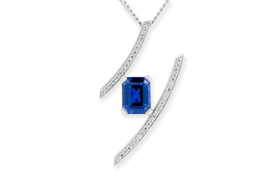 emerald cut sapphire and diamond necklace