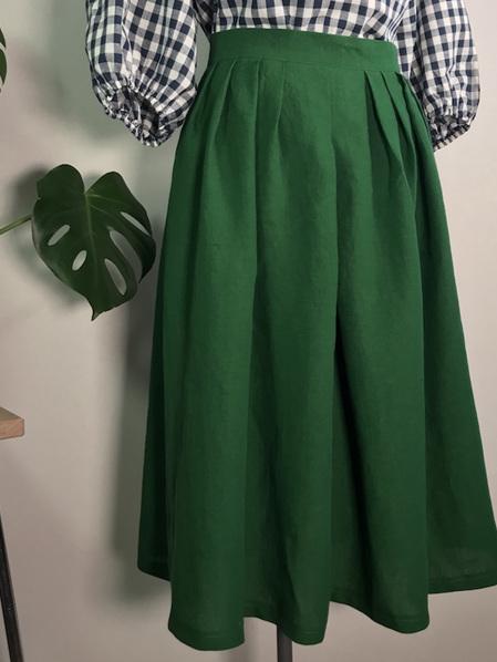 Emerald linen pleat midi skirt