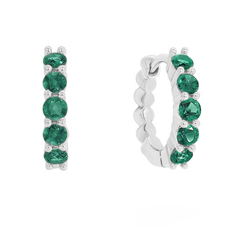Emerald Set Gold Huggie Earrings
