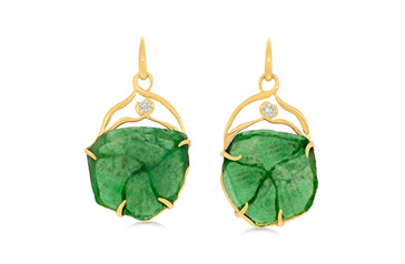 Emerald Crystal and Diamond Earrings