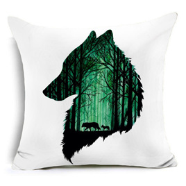 Emerald Wolf in Forest Cushion Cover