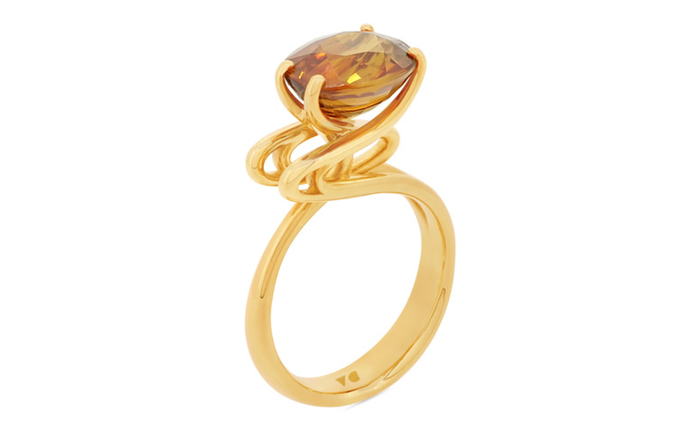 Emerge Golden Zircon and Yellow Gold Ring