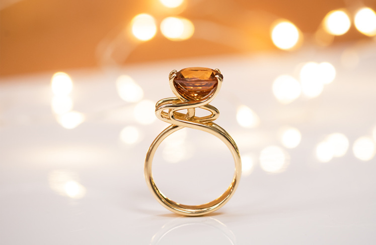 Emerge Golden Zircon Ring in 18ct Yellow Gold