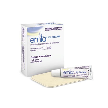 EMLA cream 5% 1 x 5g with two dressings
