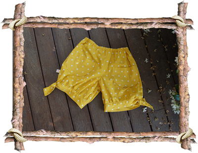"""Emma"" Hem-Tie Shorts, 'XOXO Dandelion', 100% Cotton"