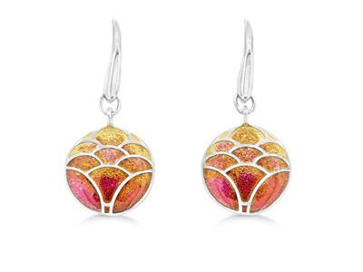 Orange Enamel Lotus Flower Drop Earrings