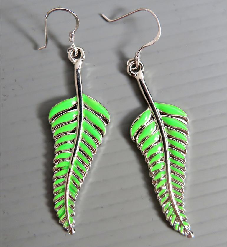 Enamel Fern earrings