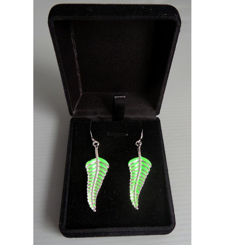 Enamel fern leaf earrings in a jewellery box