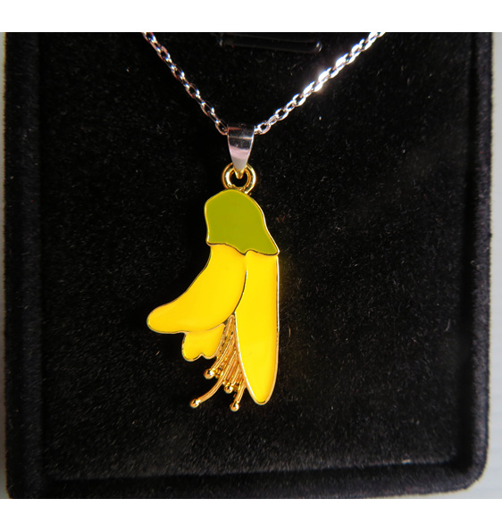 Enamel Kowhai flower pendant in a jewellery box