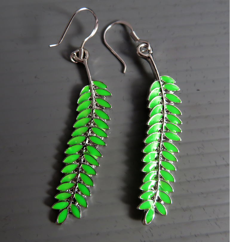 Enamel Kowhai leaf earrings on sterling silver findings