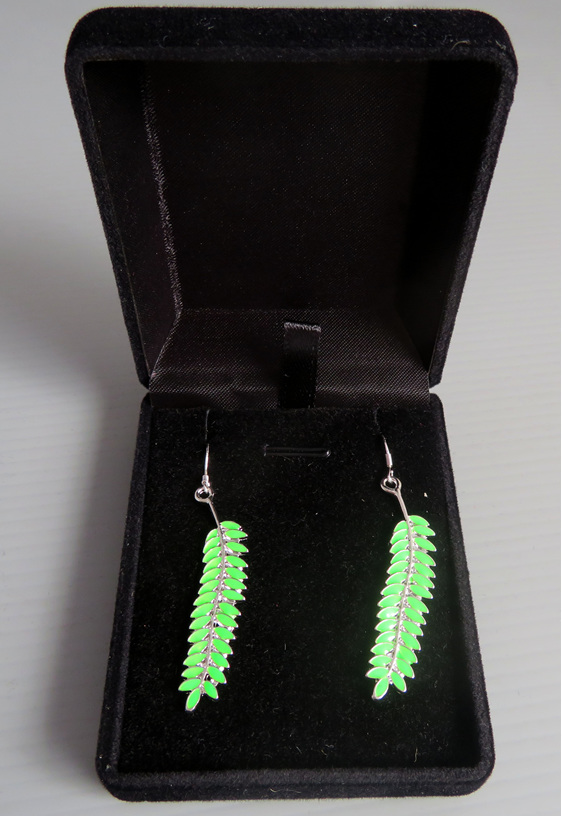 Enamel Kowhai leaf earrings on sterling silver findings in a jewellery box