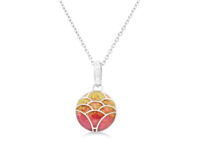 Orange Enamel Lotus Flower Necklace