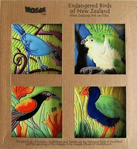 Endangered Birds of New Zealand set of 4 10x10cm Ceramic Tiles