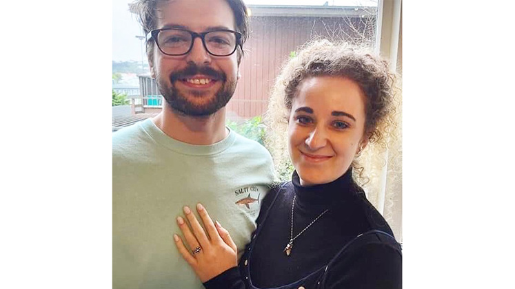 Engaged couple, family heirloom remodelled engagement diamond and sapphire ring