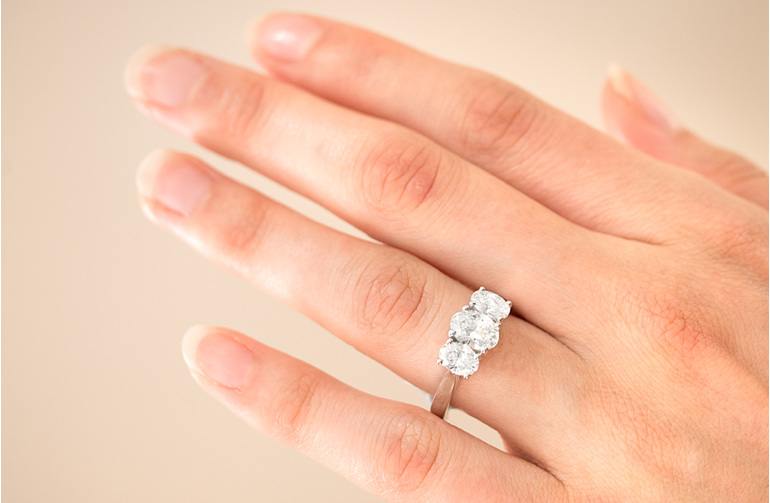 Engagement Ring - Three Stone Oval Diamond Platinum Ring