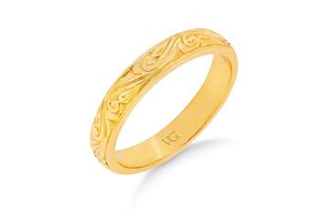 Engraved Patterned Wedding Ring