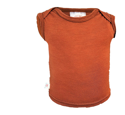 Envelope Neck Singlet, 'Copper' 100% NZ Merino, 0-3 months