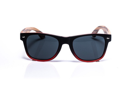 EP1 Wood Arm Sunglasses - Black/Red
