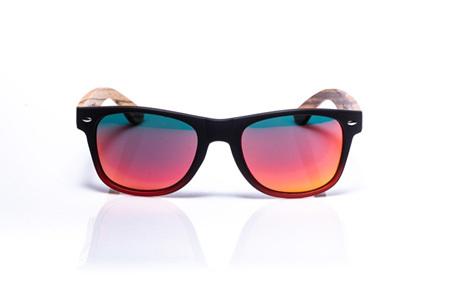 Ep1 Wood Arm Sunglasses - Black/Red Mirror Lens