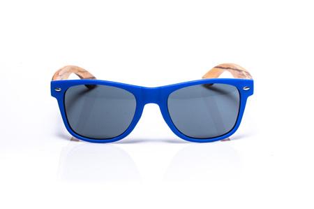 EP1 Wood Arm Sunglasses - Blue Matt & Grey Lens