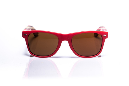 EP1 Wood Arm Sunglasses - Bright Red & Brown Lens