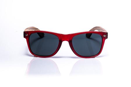 EP1 Wood Arm Sunglasses - Dark Red & Grey Lens