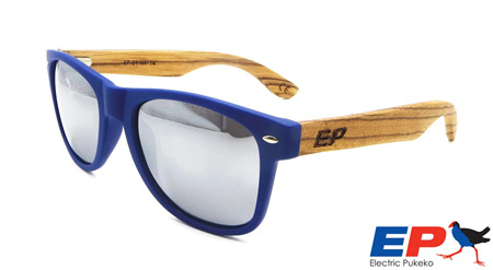 EP1 Wood Arm Sunglasses - Navy & Mirror Lens