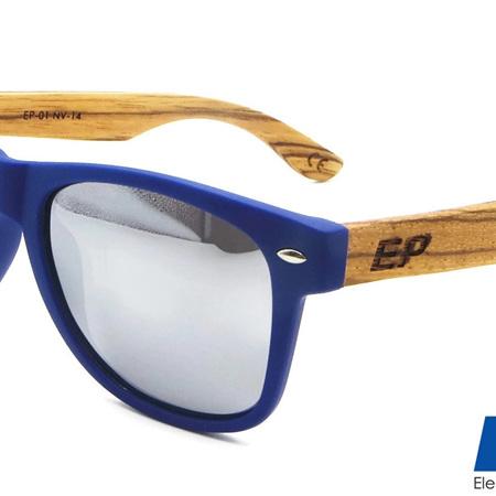EP1 Wood Arm Sunglasses - Navy & Mirror Lens