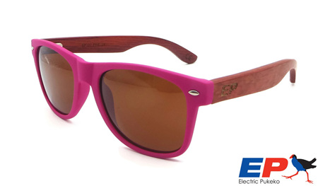 EP1 Wood Arm Sunglasses - Pink & Brown Lens