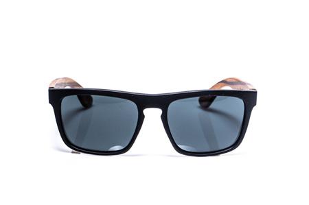 EP2  Wood Arm Sunglasses - Black Matt & Grey Lens