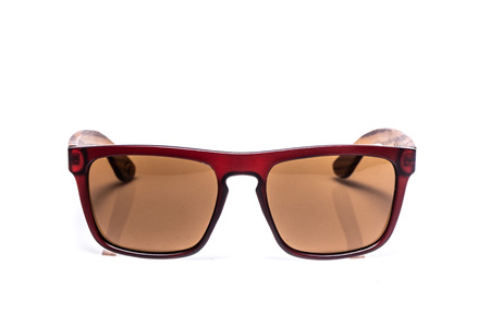 EP2  Wood Arm Sunglasses - Dark Red with Grey Lens